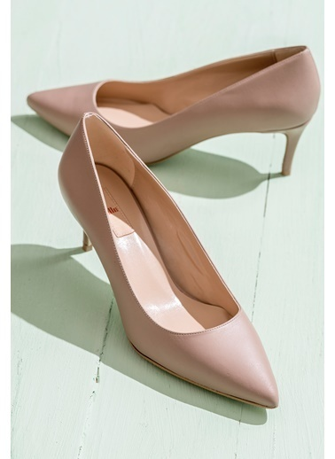Elle İnce Topuklu %100 Deri Ayakkabı Ten